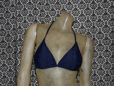 Old Navy Navy Blue Floral Eyelets String Triangle Bikini Top Womens SMALL NEW