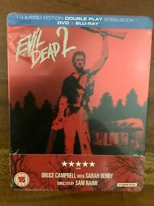 EVIL DEAD 2 DVD + BLU RAY STEELBOOK LIMITED EDITION FACTORY SEALED