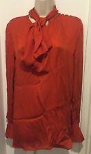 STELLA MCCARTNEY Orange Silk Top with Pussy Bow Size IT 40/UK 10