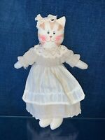 Primitive Rustic Country MISS KITTY Kitten CAT Ornament Shelf Folk Art Doll ❤️