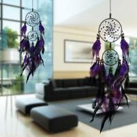 Handmade Dream Catcher With Purple feathers Wall Hanging Decor Bead Ornament