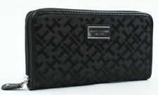 TOMMY HILFIGER Women's Monogram Fabric Zip Around Wallet, Black