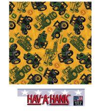 *USA MADE John Deere TRACTOR Farm BANDANA Head Neck Wrap Scarf Hanky Scarves Cap