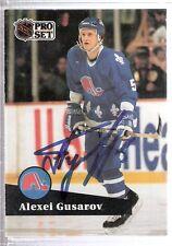 Autographed 1991 Pro Set Alexei Gusarov Quebec Nordiques