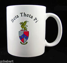 Beta Theta Pi, ΒΘΠ, Coffee Mug Cup Crest 2 Sides White Porcelain By McCartney