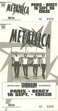 RARE / TICKET DE CONCERT - METALLICA : LIVE PARIS ( FRANCE ) COMME NEUF LIKE NEW