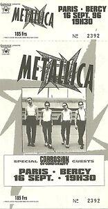 RARE / TICKET BILLET CONCERT - METALLICA : LIVE PARIS ( FRANCE ) 1996 / LIKE NEW