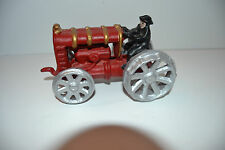 Antique Vintage Cast Iron Metal Red Silver Gold WagonToy