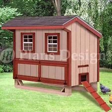 4'x6' Saltbox Hen / Chicken Poultry Coop Plans, 90406S