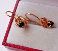 Vintage Soviet  Russian 585,14k Solid Rose Gold  Earrings  With Black Agate
