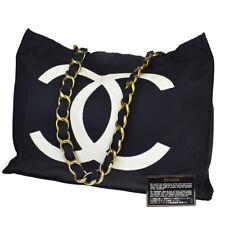 Auth CHANEL CC Logo Chain Shoulder Tote Bag Nylon Black France Vintage 20MB656