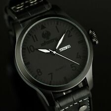 INFANTRY Mens WRIST WATCH Analog QUARTZ Date Day Sport ARMY BLACK LEATHER LUXURY