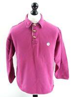 FAT FACE Mens Jumper Sweater M Medium Purple Cotton 1/4 Button