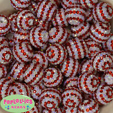 20mm Red White Stripe Candy Cane rhinestone Bubblegum Beads 20 pc.