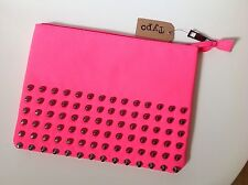 "Typo Hot Pink Padded Pouch With Gunmetal Studs For 10"" iPad Fluorescent Pink"