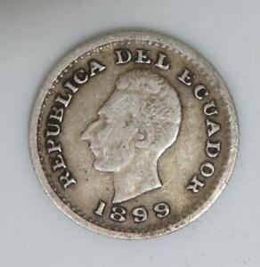 1899 Ecuador 1/2 Decimo *1.25g of .900 Silver* Lower Mintage KM#55.1 A092