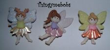 3 FLOWER FAIRY THEMED NOVELTY CRAFT BUTTONS - CARDMAKING/SEWING