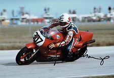 Mick GRANT Signed 12x8 Photo Autograph AFTAL COA Kawasaki Motorbike Daytona 200