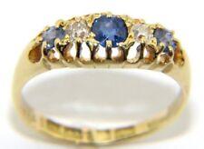 Mujer Vintage 18ct Oro Amarillo, diamante & Piedra Azul Anillo Talla M 1/2