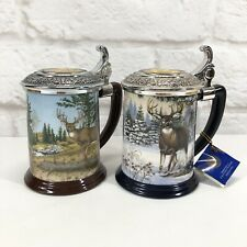 Franklin Mint Beer Steins Set National Fish & Wildlife Tankards by Rick Fields