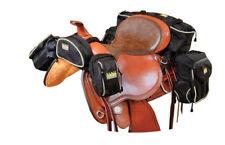 Trailmax New Design 5 Piece Pocket Trail Riding Saddle Bags Black with Sand Trim