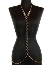 GOLD CIRCLE Statement BODY CHAIN Thin Metal Link Chain Celebrity Inspired