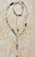 ETHIOPIAN Fire Opal Aquamarine Moonstone Pearl Sterling Silver Necklace Sundance