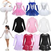Girl Ice Skating Dress Floral Lace Ballet Leotard Dress Figure Roller Dancewear