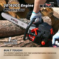 "X-BULL Gasoline Powered Chainsaw 20"" Bar 62cc Engine 2 Cycle Chain Saw black"