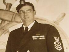 Vintage 1940's-1950's Kodak RPPC Real Photo Post Card US Navy Chief Gunners Mate