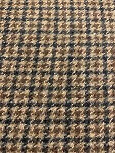"""Houndstooth Wool Fabric Brown Black Beige 1.25 Yards, 60"""" Wide"""