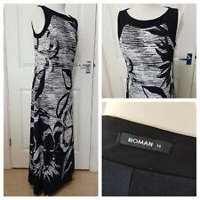 Roman Long Maxi Dress Size 14 Black White Floral Leaf Pattern Cruise Holiday