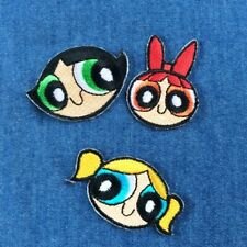 Powerpuff Girls FACES Iron On Patch Sew On transfer The Power puff Girls cartoon