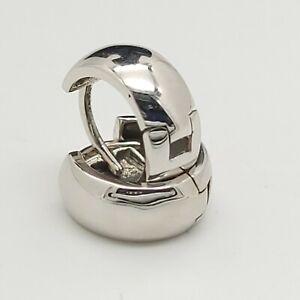 New EHC 14k 585 White Gold Small 10' mm Huggie Hoop Earrings