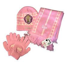 HELLO SPANK lot 3 pièces rose chapeau+écharpe+gants en laine chaud pour enfant