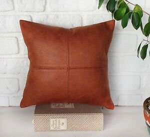 Terracotta color faux leather fabric piecewise square design pillow cover-1 QTY