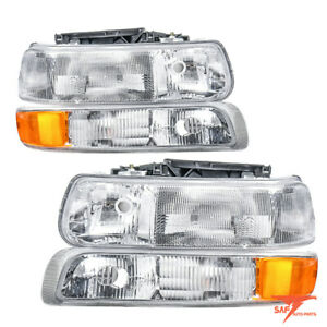 For 1999-2002 Chevy Silverado 2000-2006 Tahoe Suburban Headlights+Signal Lights