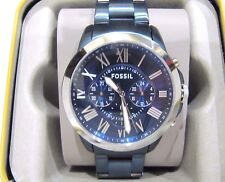 Fossil Nate Men's Blue Stainless Steel Band Chronograph Watch FS5230  NWT $175