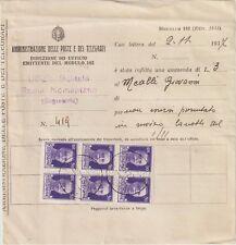 ITALIA 1937 50C BLOCCO DI 6 SU MODULO DELLE POSTE 162/1935
