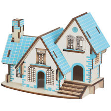 Assembly DIY Education Toy 3D Wooden Model Puzzles Blue Dreamed Little House
