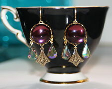 Vintage Amethyst purple glass starlight crystal Art Nouveau artisan earrings