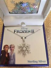"DISNEY FROZEN Cubic Zirconia Snowflake Pendant Necklace in Sterling Silver 16"""