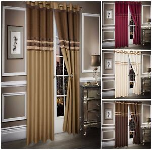 Luxury Chenille Faux Silk Fully Lined Curtains Eyelet Ready Made Cream Latte