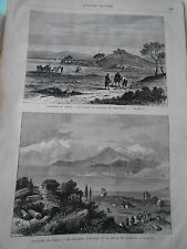 Gravure 1878 - Grèce Champ de bataille de Marathon le parnasse l'hélicon