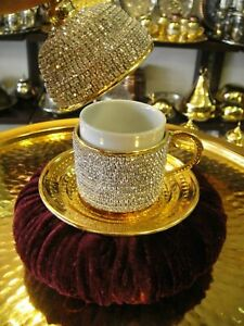 Handmade Copper Turkish Coffee Espresso Cup Saucer Swarovski type Crystal Coated