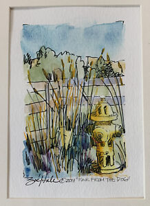 Zoe Hale Painting Watercolor Dog Walking Fire Hydrant And Landscape Original