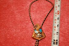 Vintage Sterling Eagle Inlaid Coral & Turquoise on Jasper Bolo Tie