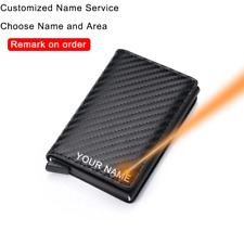 Customized with name Trifold RFID Carbon Fiber Card Holder Wallets  for Men