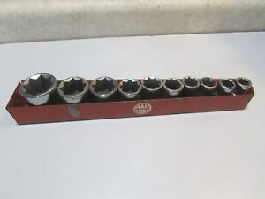 """LOT 3 MAC TOOLS 1/2"""" DRIVE 8 POINT SOCKET SET 3/8"""" - 1"""".....IN HOLDER..... USED"""