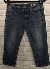 Miss Me Jeans 29 Capri Medium Wash Stretch Embelished Wing Back Pockets